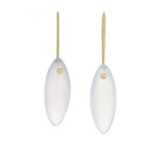 Blue Chalcedony Gold Seed Earrings Image