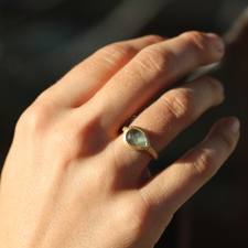 Medium Blue Sapphire Teardrop Gold Ring Image