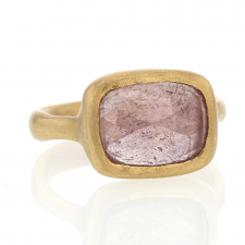 Pink Sapphire Rectangle 18k gold Sculpted Ring Image