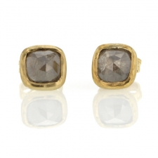 Smokey Grey Rose Cut Diamond Gold Stud Earrings Image