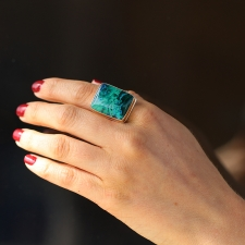 Chrysocolla Azurite and Malachite Silver and Gold Ring Image