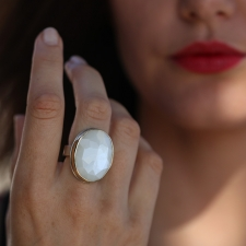 White Moonstone Vertical Faceted Ring Image