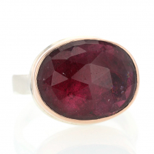 Oval Rose Cut Deep Pink Tourmaline Rose Gold  and Silver Ring Image