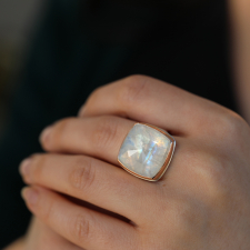 Magical Rainbow Moonstone Rose Cut Ring Image