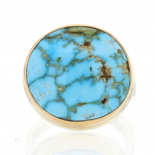Kingman Turquoise Silver and Gold Ring Image