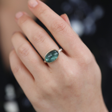 Oval Smooth Blue Green Tourmaline Ring Image