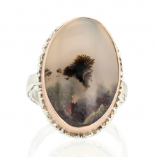 Moss Agate Silver and Gold Ring Image