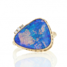 All 14k Gold Crystal Opal and Diamond Ring Image