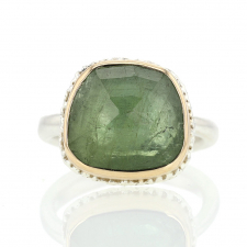 Green Tourmaline Silver and Gold Ring Image