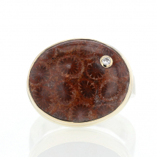 Unique Fossilized Coral with Diamond Ring Image