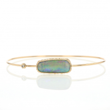 Gold Opalized Wood and Diamond Bracelet Image