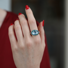Oval Sky Blue Topaz Silver and Gold Ring Image