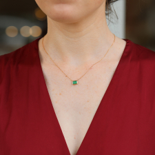 Small Emerald All 14k Gold Necklace Image