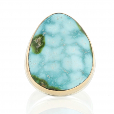 Sonorian Mountain Turquoise Silver and Gold Ring Image