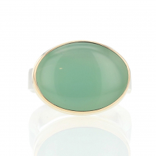 Oval Chrysoprase Silver and Gold Ring Image