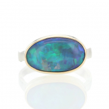 Australian Opal Oval Silver and Gold Ring Image