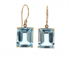Small Sky Blue Topaz Prong Gold Earrings Image