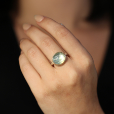 Small Oval Smooth Green Moonstone Ring Image