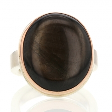 Brown Sapphire Silver and Rose Gold Ring Image