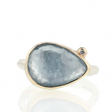 Teardrop Aquamarine Ring with Satellite Diamond