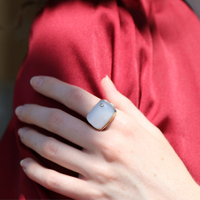 Natural Blue Chalcedony with Diamond Ring Image
