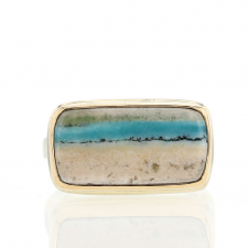 Indonesian Blue Opal Silver and Gold Ring Image