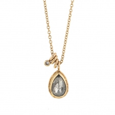 Teardrop Salt and Pepper Rustic Diamond Necklace Image
