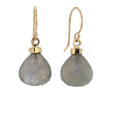 Gold Labradorite Droplet Earrings Image