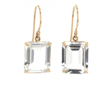 Small Emerald Cut White Topaz Earrings Image