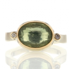 Green Beryl Silver and Gold Ring with Diamonds Image