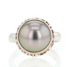 Tahitian Pearl Rose Gold and Silver Ruffled Platform  Ring Image