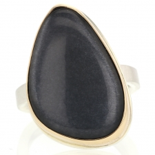 Vertical Smooth Grey Moonstone Ring Image