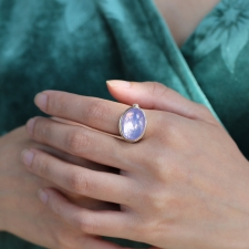 Oval Lavendar Amethyst Silver and Gold Ring Image