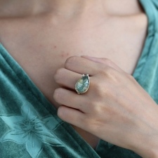 Teardrop Green Sapphire Ring with Diamond Accent Image