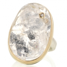 Rock Crystal Quartz Surface Statement Ring with Diamond Image