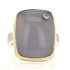 Blue Chalcedony Silver and Gold Ring with Diamond Accent Image