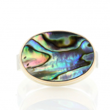 Oval Abalone Silver and Gold Ring Image