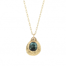 Green Tourmaline 14k Gold Textured Disc Necklace Image