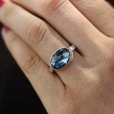 Rose Cut Oval London Blue Topaz Ring Image
