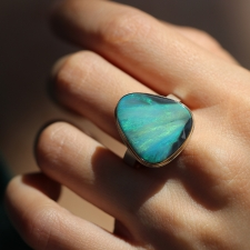 Australian Opal Silver and Gold Ring Image