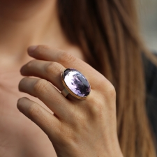 Inverted Faceted Vertical Amethyst Ring Image