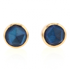 Small Round Labradorite Post Earrings Image