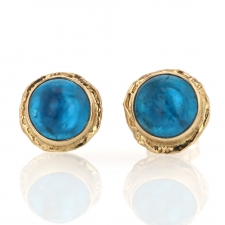 Round Apatite Gold Post Earrings Image