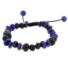 Lapis, Blue Tiger Eye and Antique Brass Bracelet Image