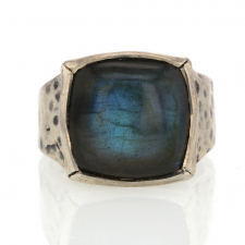 Square Smooth Labradorite Sterling Silver Ring Image