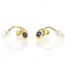 Keishi Pearl and Blue Green Sapphire Earrings Image