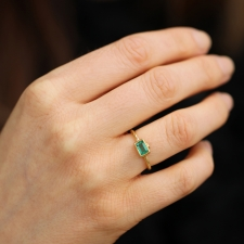 Gold Emerald Ring with Diamond Image