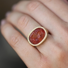 Carved Lion Carnelian Gold Ring Image
