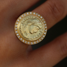Roman 18k Coin Pave Ring Image