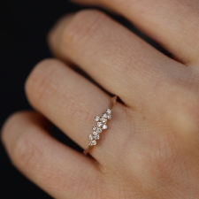 Thin Diamond Cluster 18k Rose Gold Ring Image
